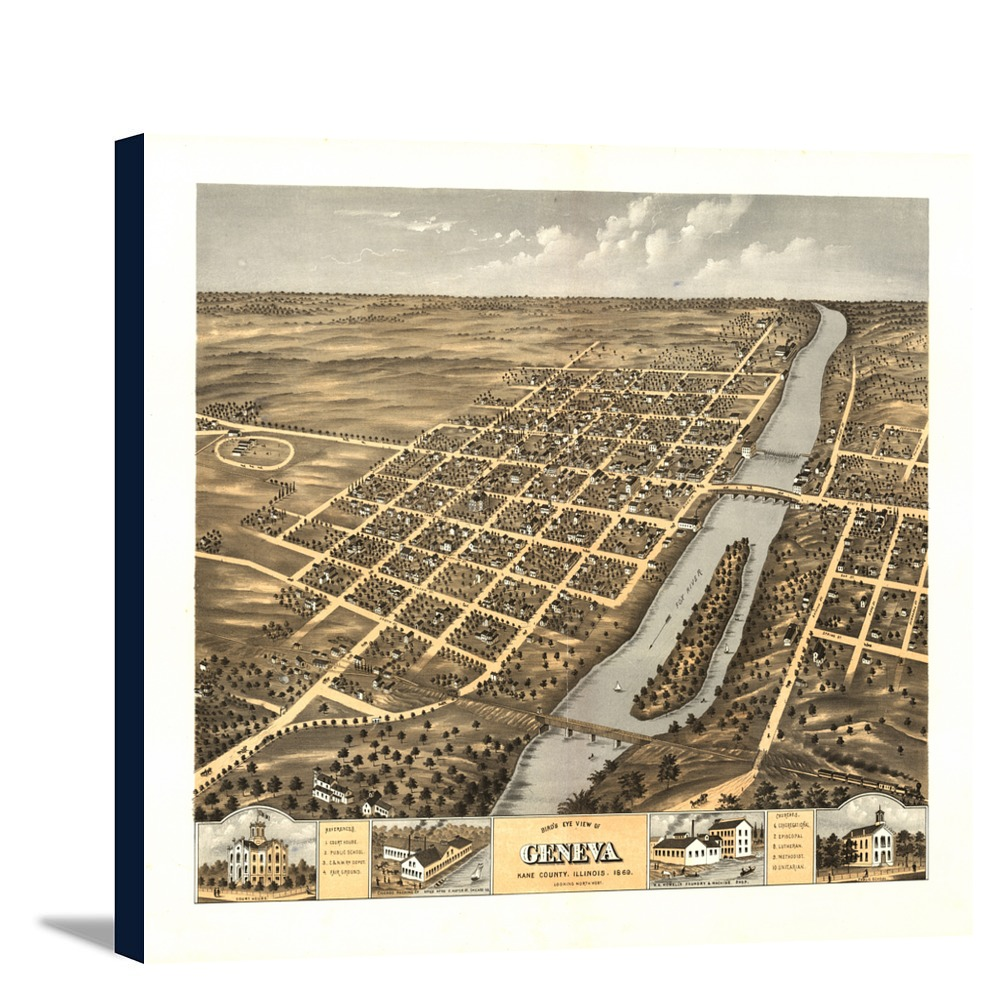 Panoramic Map 12x10 Gallery: Panoramic Map (12x10.25 Gallery Wrapped