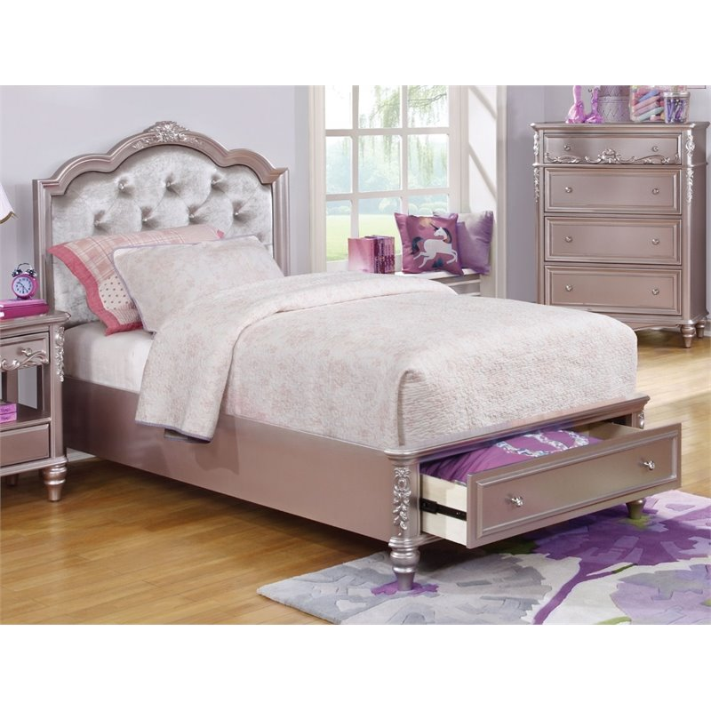Coaster Caroline Full Tufted Storage Bed in Metallic Lilac