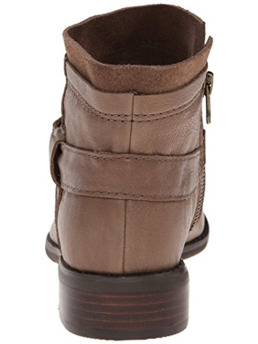 All Black Womens Layered Leather Ankle Booties Taupe 35.5 Medium (B,M)