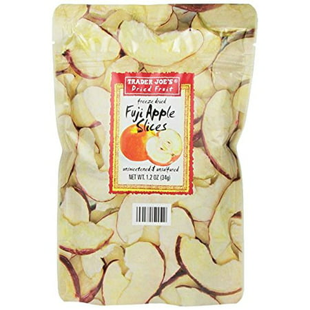 4 Pack Trader Joes Freeze Dried Fuji Apple Slices 1.2oz (34g) - Unsweetened and Unsulfured Healthy