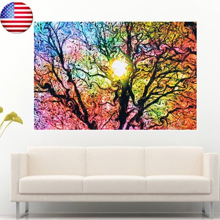 - Colorful Sun Shinning Psychedelic Trippy Tree Bathroom Home Decor Collection Oversized Wall Silk Cloth Poster Art ,20