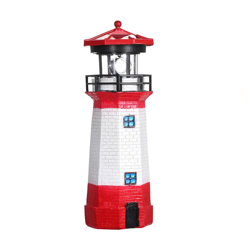 Solar Powered LED Rotating Lighthouse Light Garden Lawn Lamps Yard Outdoor Decor