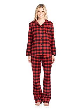 f04dac8644d Product Image Ashford   Brooks Women s Flannel Plaid Pajamas Long Pj Set -  Black Stewart ...