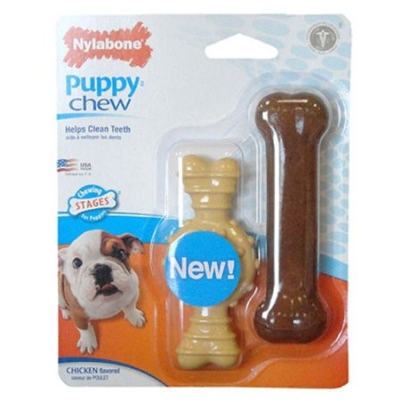 Nylabone Puppy Chew Flavor Medley and Chicken Chew Toy Twin Pack, X-Small