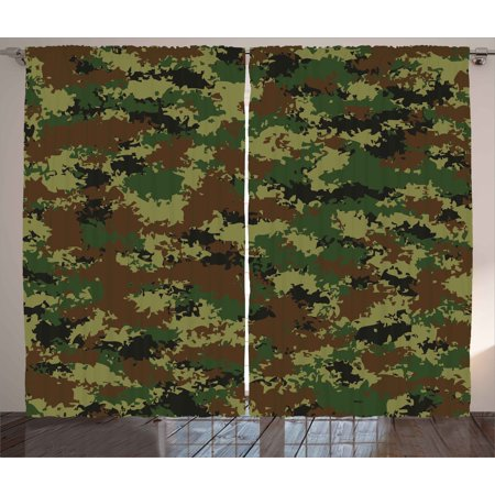Camo Curtains 2 Panels Set, Grunge Graphic Camouflage Summer Theme Armed Forces Uniform Inspired Dark, Window Drapes for Living Room Bedroom, 108W X 84L Inches, Green Pale Green Brown, by - Camouflage Theme