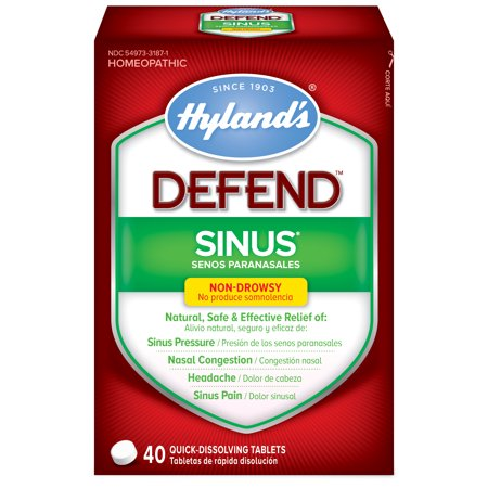 Hyland's DEFEND Sinus, Natural Relief of Sinus Pain and Pressure, Headache and Nasal Congestion Due to Common Cold, 40