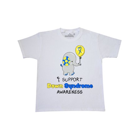 - I Support Down Syndrome Awareness Elephant with Balloon Youth T-Shirt