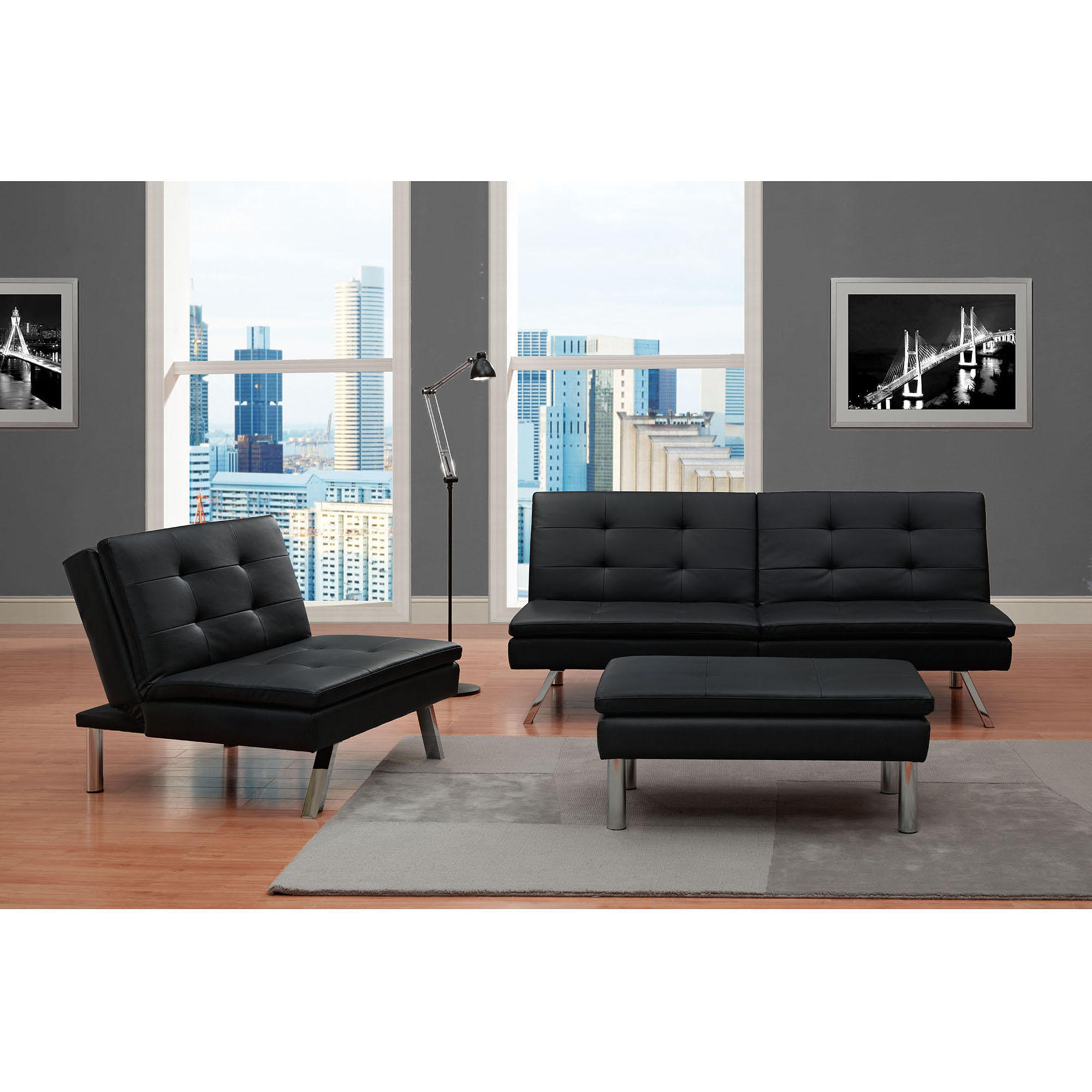 Chelsea Piece Living Room Set Black Walmart Com
