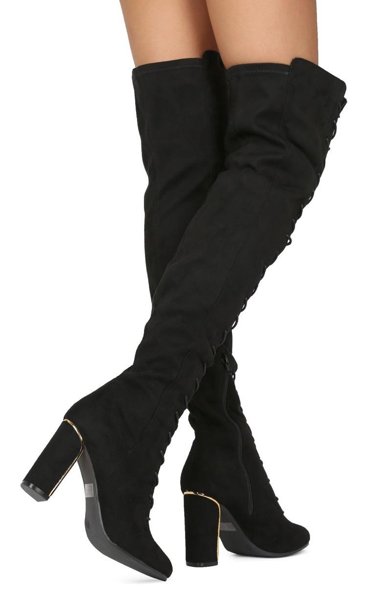 1d3b9913f10 New Women Wild Diva Vanessa-03 Faux Suede Over The Knee Lace Up Block Heel  Boot