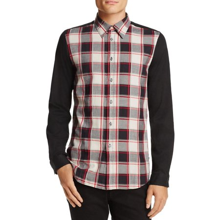Paul Smith Tailored Fit Mixed Button-Down Shirt Small Black Tailored Fit Mix