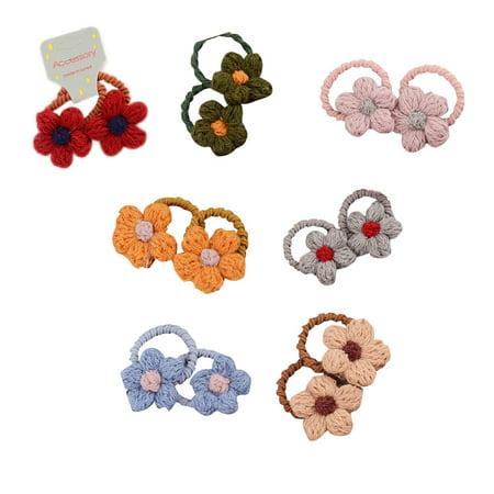 babydream1 2Pcs/set Kids Mini Flower Hair Tie Ponytail Holder Children Girls Cashmere Flowers Hair Band Rope - image 3 de 9