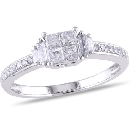 - 1/2 Carat T.W. Princess, Baguette and Round-Cut Diamond Engagement Ring in 10kt White Gold
