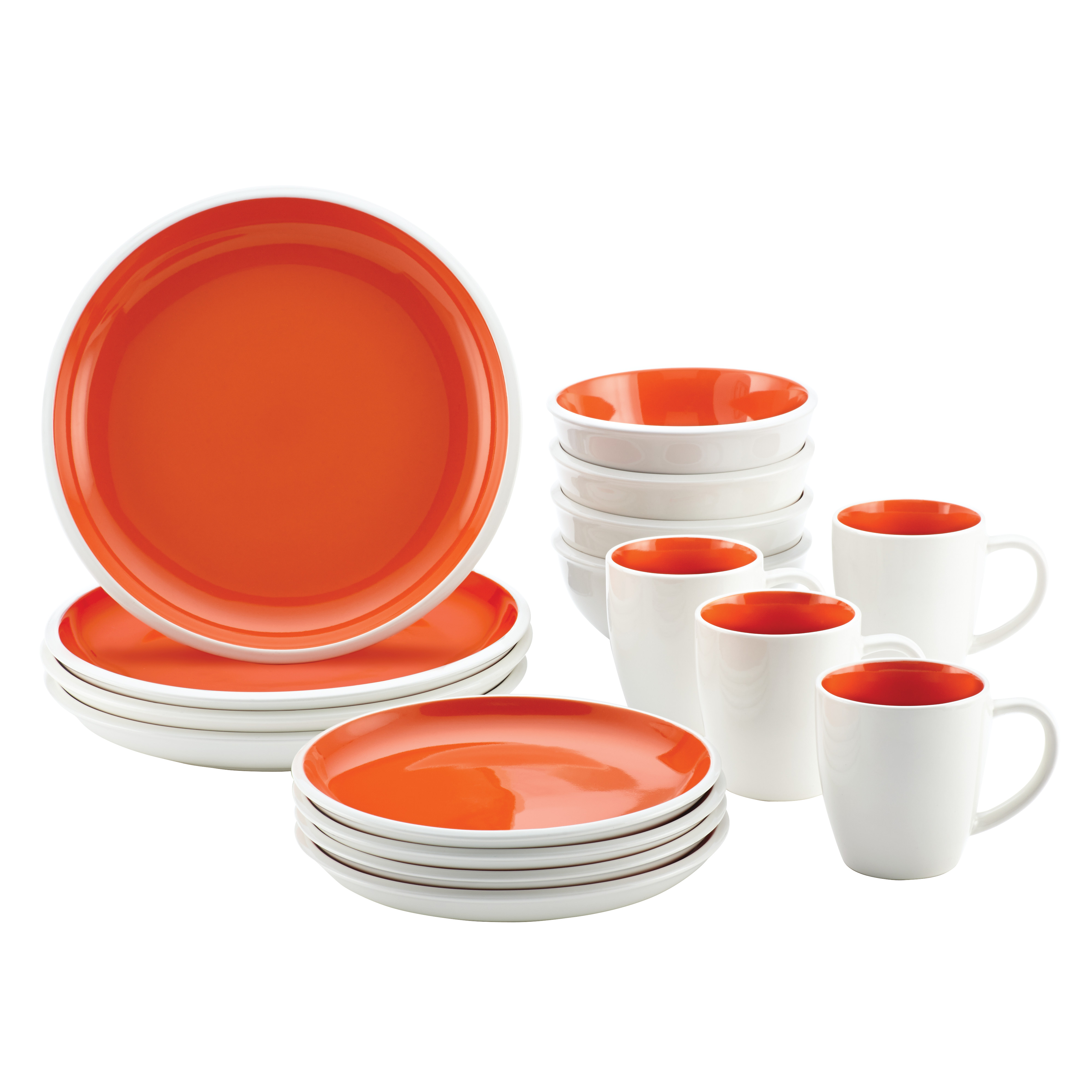 Rachael Ray Rise Stoneware 16-Piece Dinnerware Set, Orange