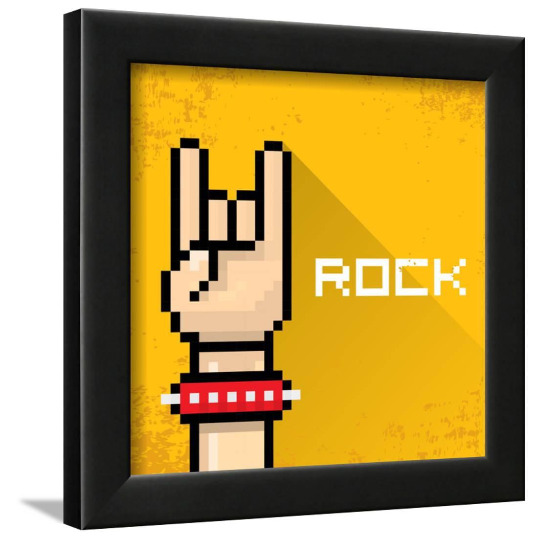 Vector Pixel Art Hand Sign Rock N Roll Music. Framed Print Wall Art ...