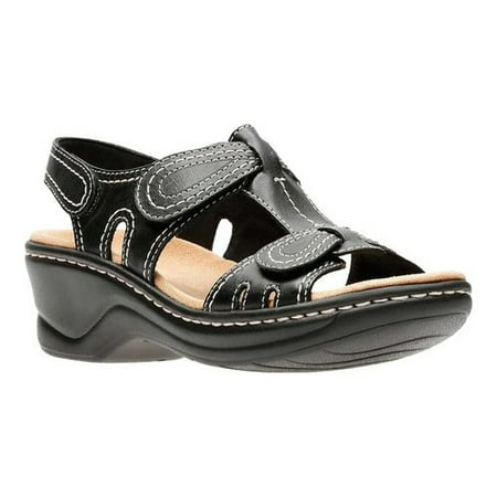 dd6b0cef2d6 Clarks Narrative - Clarks Narrative Lexi Walnut Q Women Open Toe Leather  Black Wedge Sandal - Walmart.com