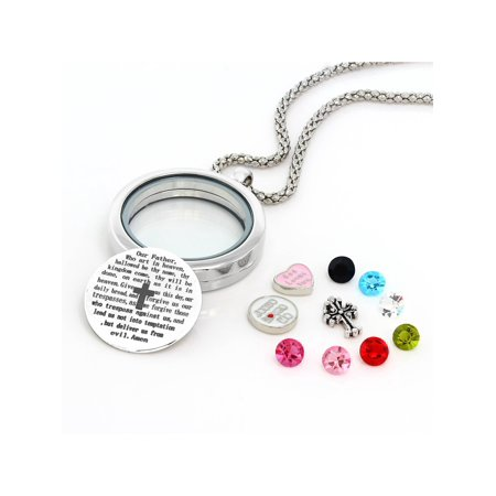 Floating Lords Prayer Locket Pendant Necklace With Multi-Colored Charms - Lockets With Charms