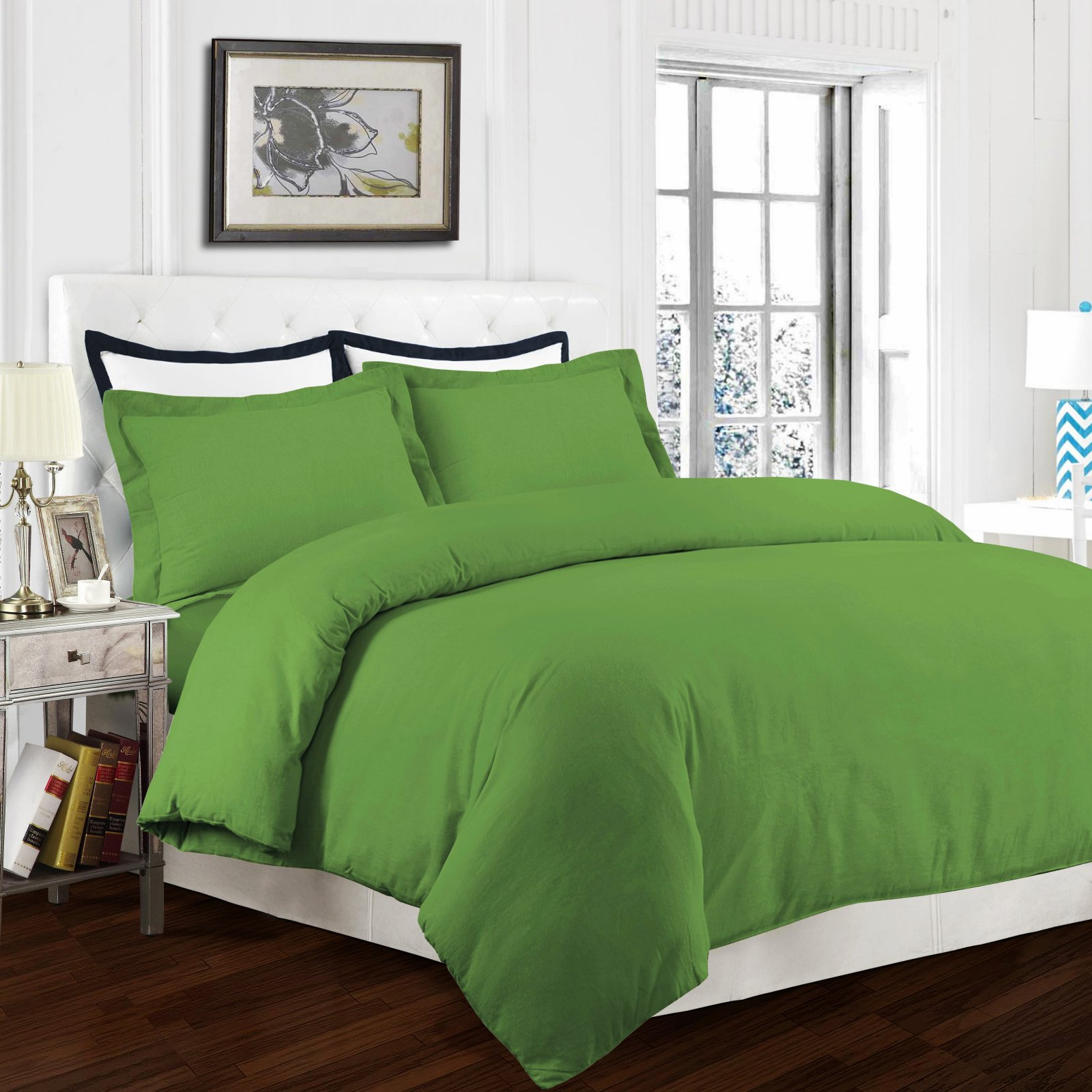 170-GSM Solid Flannel 3 Piece Duvet Cover Set by Tribeca Living