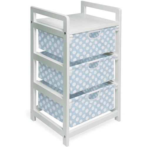 Badger Basket 3-Drawer Hamper/Storage Unit, White with Blue Polka Dots Bins