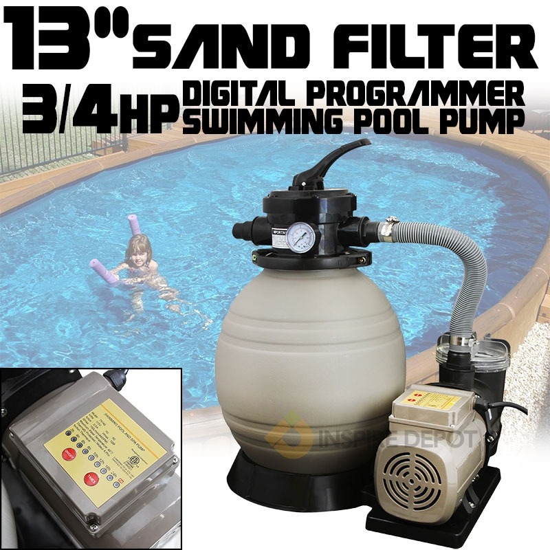 "13"" Timer Sand Filter plus 3/4HP Aboveground Self Priming Pool Pump"