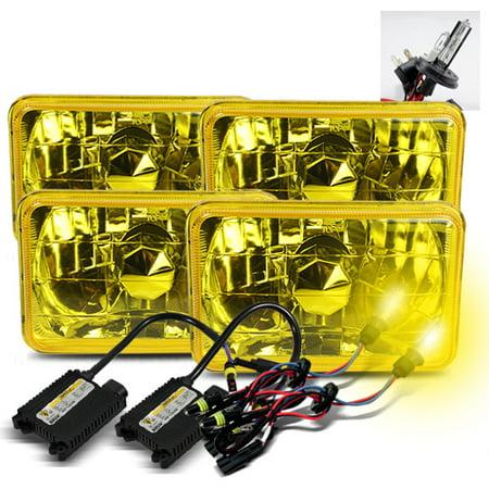 Modifystreet 3000K H4-2 HID + 4PC H4651/H4652/H4656/H4666 4x6 Semi-Sealed Beam Headlights Conversion Kit - Yellow Lens Crystal Housing