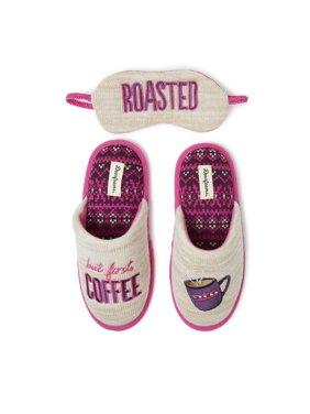 Dearfoams Women's Novelty Coffee First Pile Scuff with Eye Mask Slippers