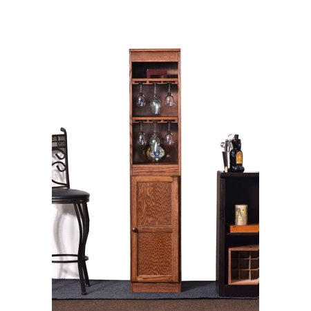 Concepts in Wood 21 Bottle Wood Wine Cabinet with Hanging Glassware Storage - Oak Finish