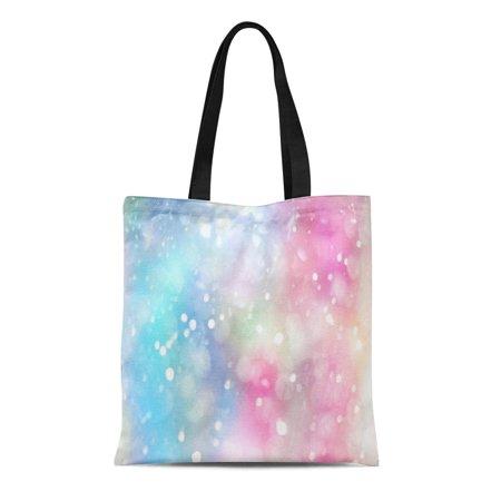 ASHLEIGH Canvas Tote Bag Rainbow Pastel Lens Bokeh Effect Colorful Spot Blur Bubble Reusable Shoulder Grocery Shopping Bags