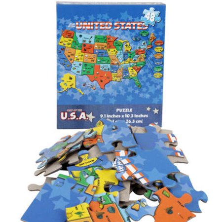 United States Map 48-Piece Puzzle Case Pack 36 on alaska lower 48 map, usa map, sierra leone latitude and longitude map, us geographical map, oregon state map, letter size landscape us map, flat us map, connecticut longitude and latitude map,