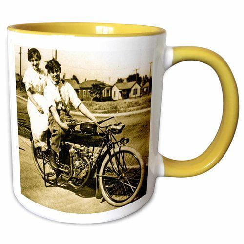 Symple Stuff Islas Triumph of Love Dating on a Motorcycle Magic Lantern Slide Sepia Tone Coffee Mug