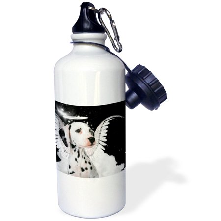 3dRose Dalmatian Angel Dog with clouds, a cute Halo and Angel Wings, Sports Water Bottle, 21oz