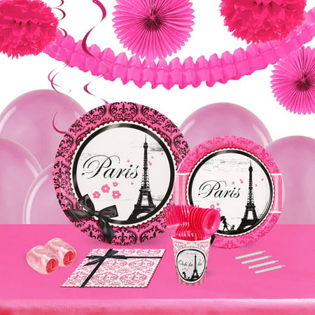 Paris Damask 16-Guest Tableware and Decoration Kit - Damask Decorations Party