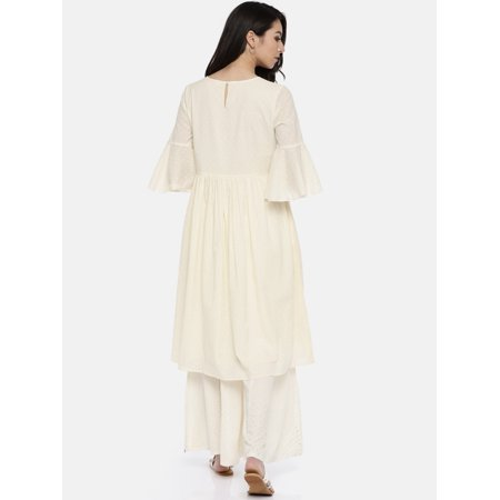 all about you from Deepika Padukone Women Off-White Woven Design A-Line Kurta - image 1 of 6