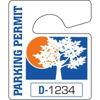 Non-Reflective Plastic Parking Permit Tags, Blue/Orange, Small, Package Of 100