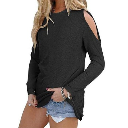 Women's Autumn Fashion Round Collar Loose Top Strapless Cotton Tops
