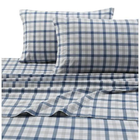 Heavyweight 200-GSM Micro-Plaid Printed Extra Deep Pocket Flannel Sheet Set Cal King Dusty Blue ()