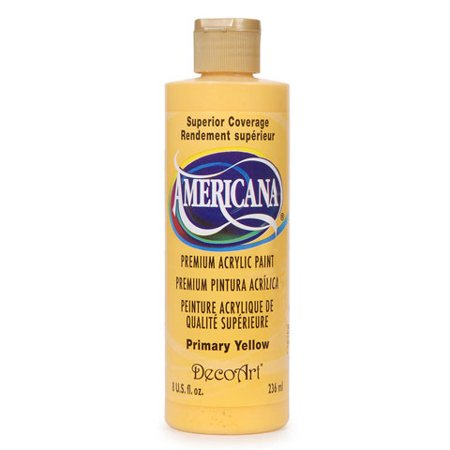 DecoArt Americana Acrylic Paint. Primary Yellow. 8 oz Decoart Americana Acrylic Paints