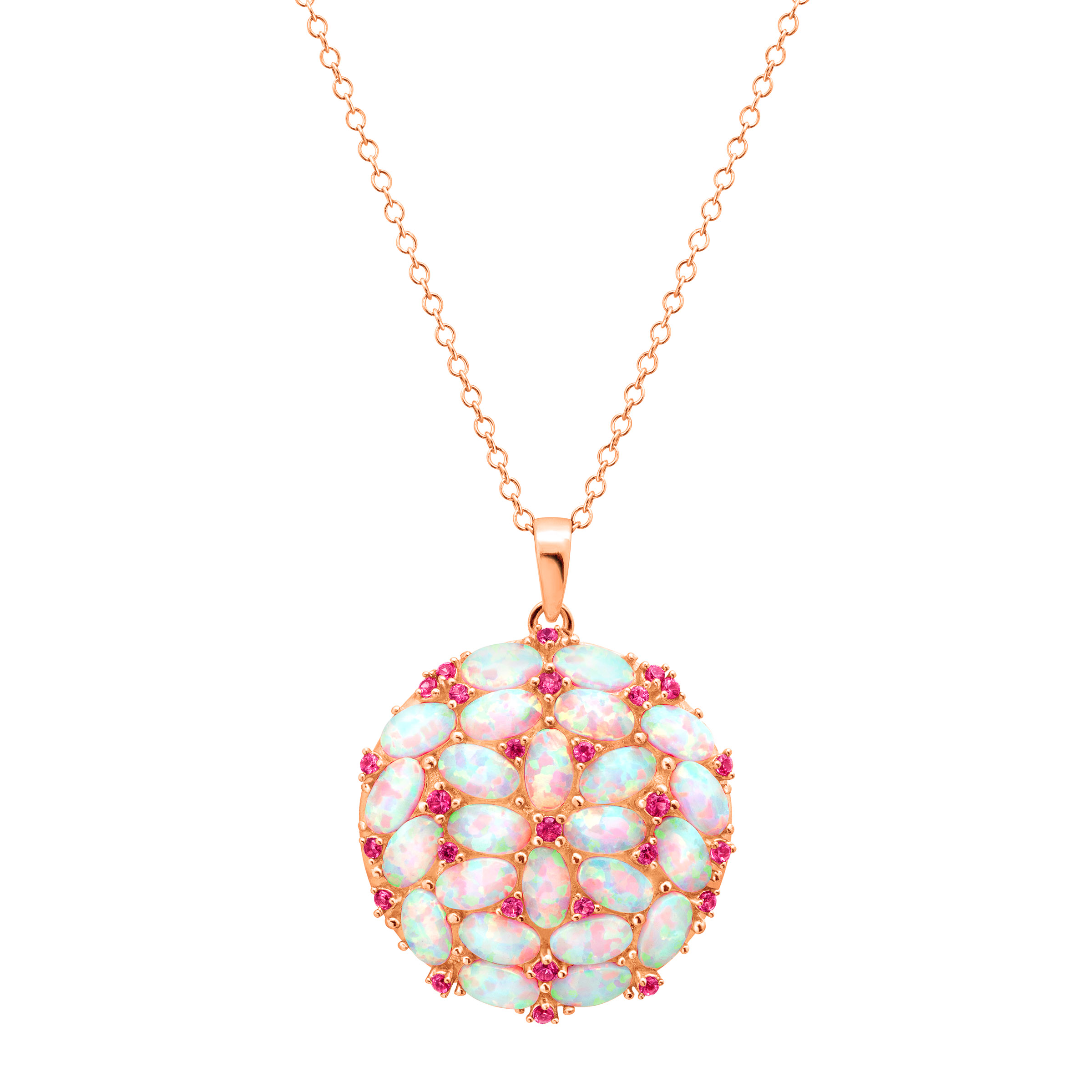 2 3 8 ct Created Opal & Pink Sapphire Medallion Pendant Necklace in 18kt Rose Gold-Plated Sterling Silver by Richline Group