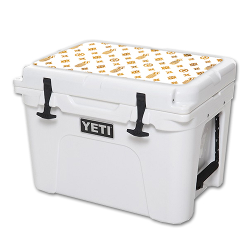 MightySkins Protective Vinyl Skin Decal for YETI Tundra 35 qt Cooler Lid wrap cover sticker skins Gold Pineapples