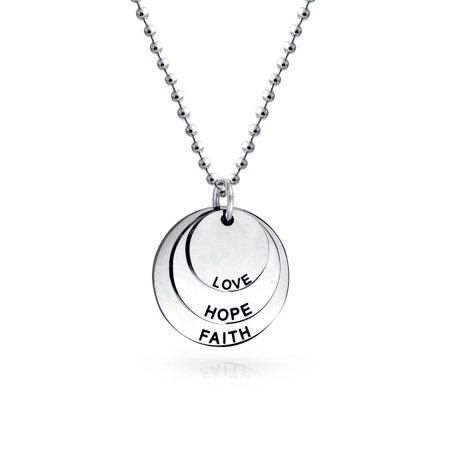 Faith Circle Necklace (Engravable Circle Inspirational Mantra Faith Hope Love Disc Dog Tag Pendant Necklace For Women For Teen Stainless)