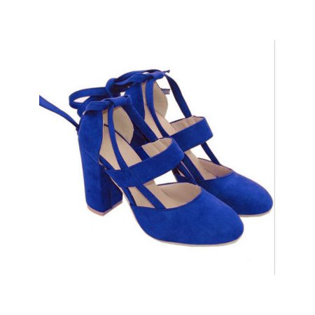 cc8e7f52686 Womens Pointed Toe Suede Ankle Strappy Block Heels Chunky Sandals Party  Shoes - Walmart.com