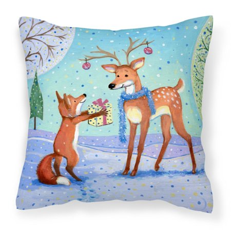 Carolines Treasures Christmas Present From the Fox Canvas Square Decorative Outdoor Pillow ()