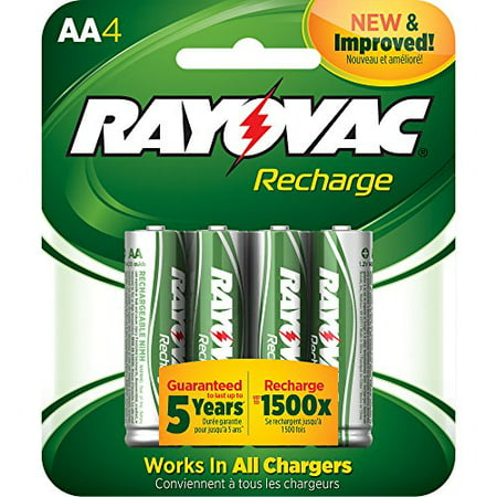 Rayovac Recharge Rechargeable 1350 mAh NiMH AA Pre-Charged Battery, 4-pack (Best Rechargeable D Batteries)