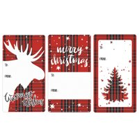 Plaid Christmas Gift Tag Stickers, 75ct - Christmas Gift Tags Wrapping Supplies - 75 Count To From Stickers