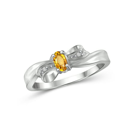 Silver Box Ring - JewelersClub 1/5 Carat T.G.W. Citrine And White Diamond Accent Sterling Silver Bow Ring