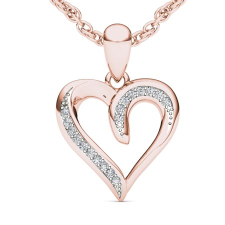 Solid 10kt White Gold Cross (Imperial 1/20 Carat T.W. Diamond Heart-Shape 10kt Rose Gold)