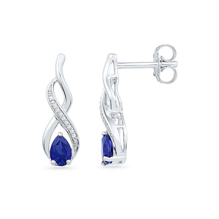 10kt White Gold Womens Pear Lab-Created Blue Sapphire Diamond Stud Earrings 1.00 Cttw - image 1 of 1