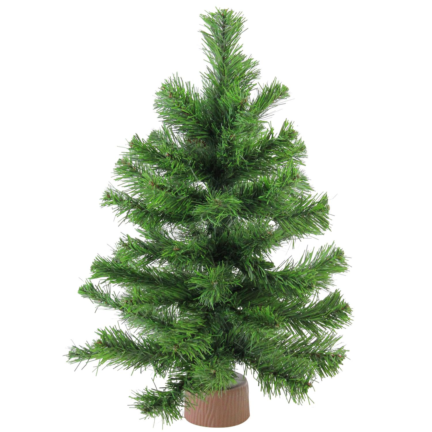 """Miniature Artificial Christmas Trees: 18"""" Mini Pine Christmas Tree In Faux Wood Base"""