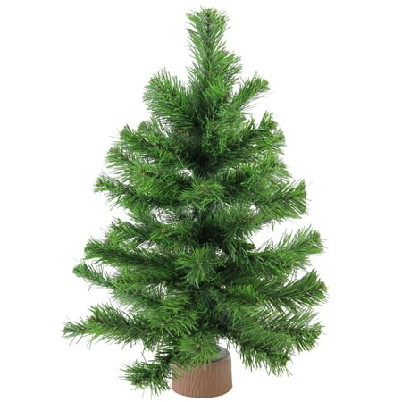 "18"" Mini Pine Artificial Christmas Tree in Faux Wood Base ..."