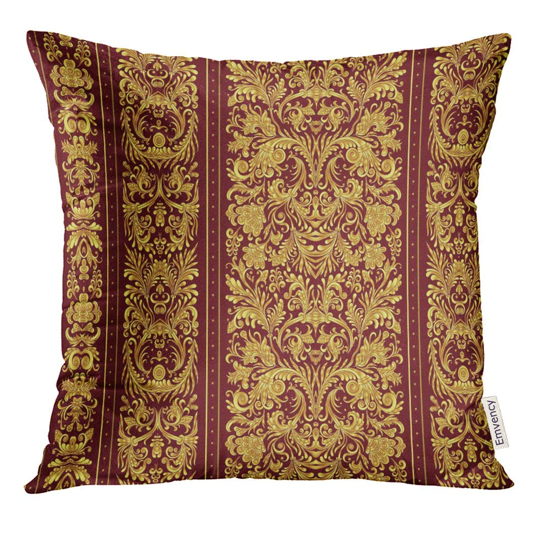 USART Border Striped on Baroque Style Golden Floral Damask Gold Vinous Vintage Pillow Case 16x16 Inches Pillowcase