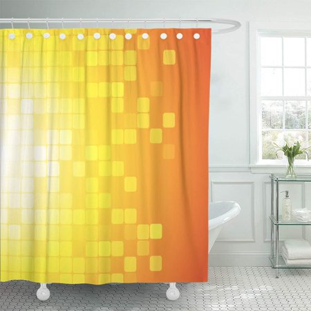 KSADK Red Grid Abstract on Yellow Orange Pixel Digital Gold Block Color Creative Shower Curtain Bathroom Curtain 66x72 inch ()